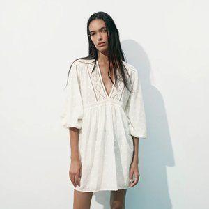 NWOT ZARA EMBROIDERED MINI DRESS OYSTER WHITE